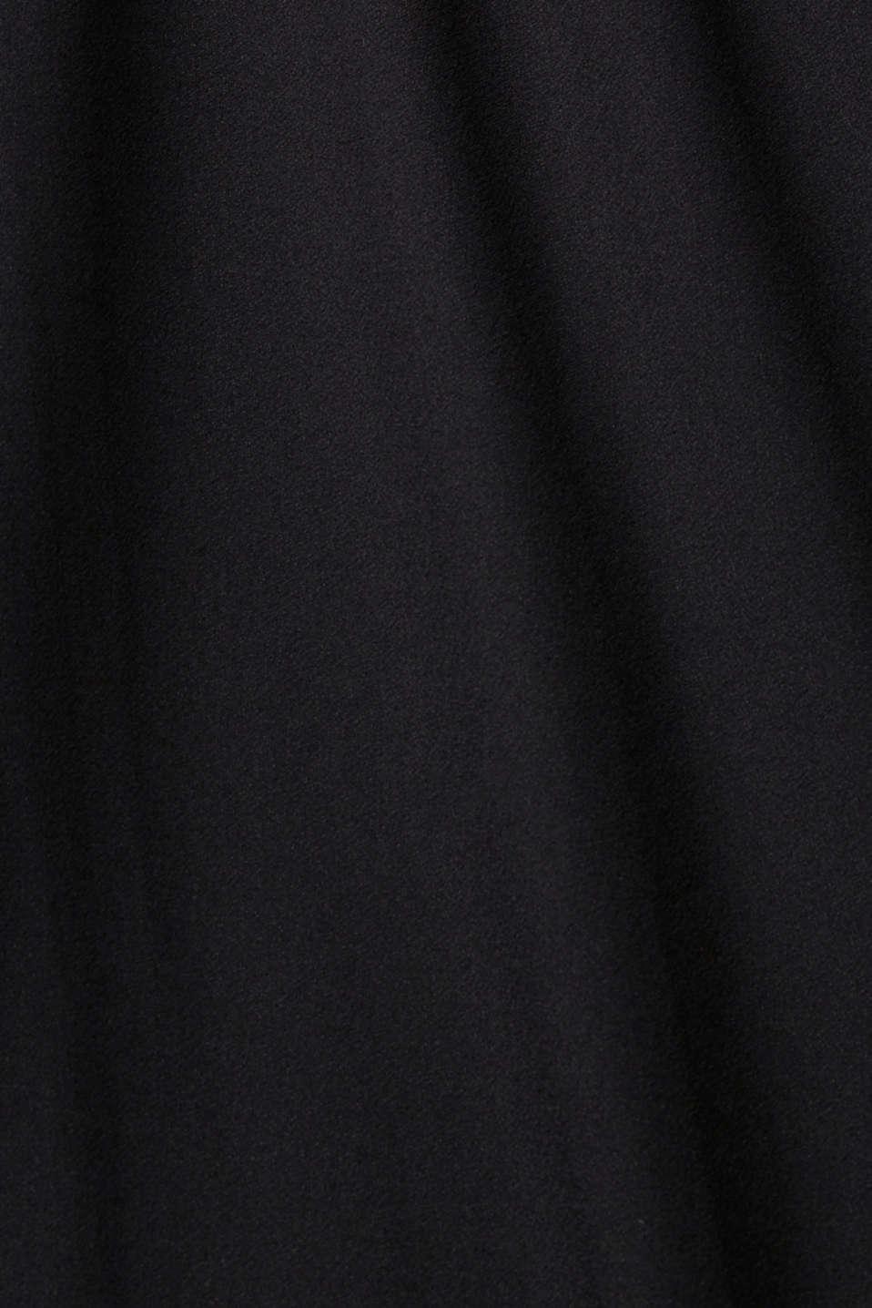 Crêpe dress with laser-cut details, BLACK, detail image number 4