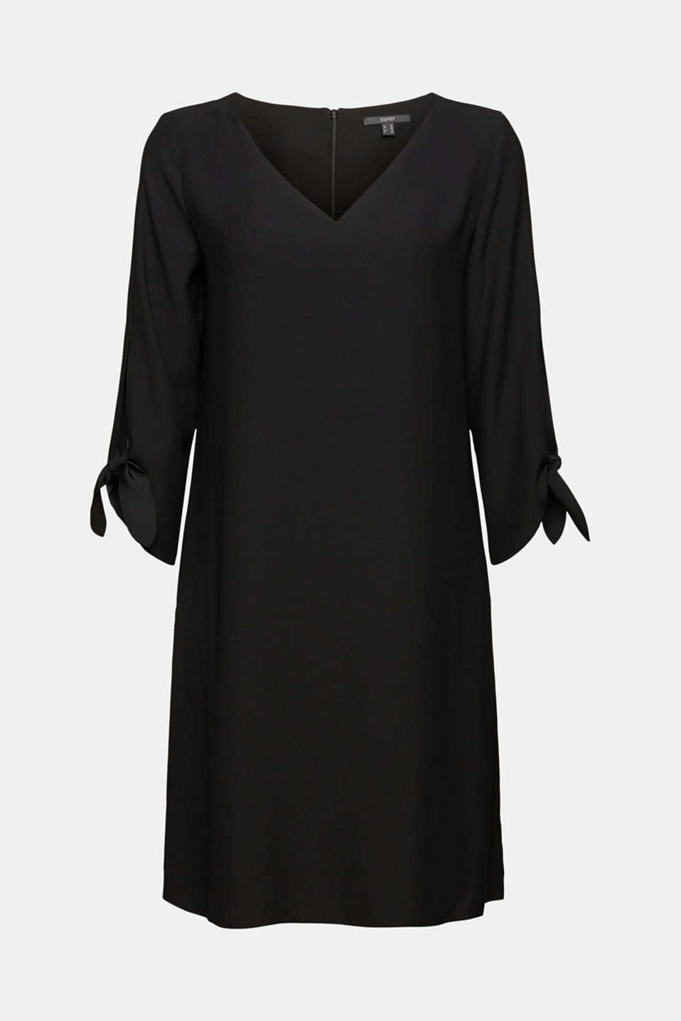 Crêpe dress with laser-cut details, BLACK, detail image number 7
