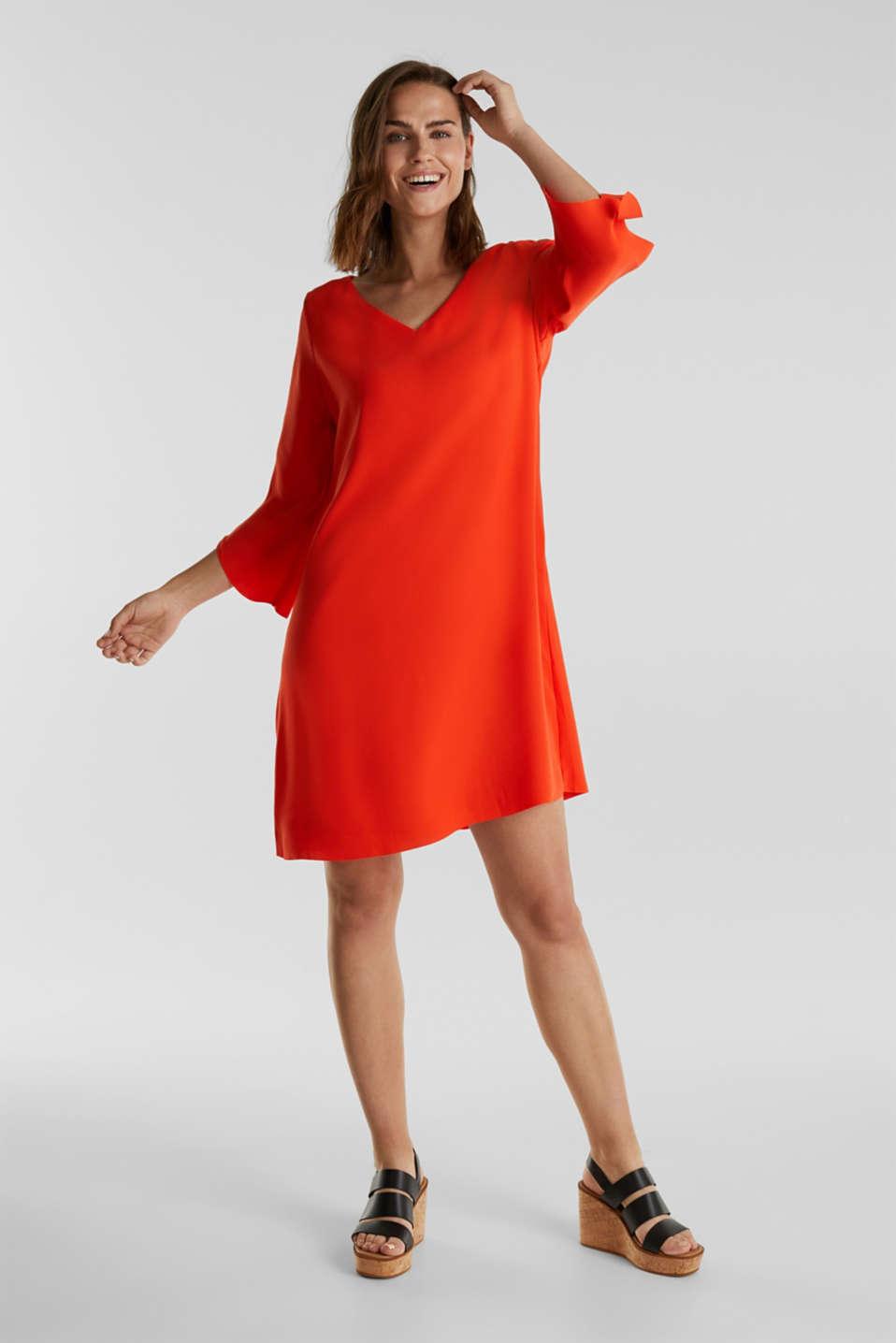 Crêpe dress with laser-cut details, RED ORANGE, detail image number 0