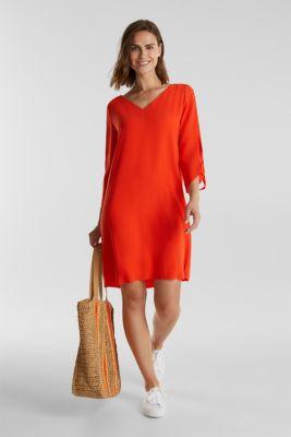 Crêpe dress with laser-cut details, RED ORANGE, detail