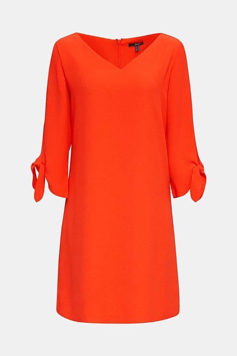 Crêpe dress with laser-cut details