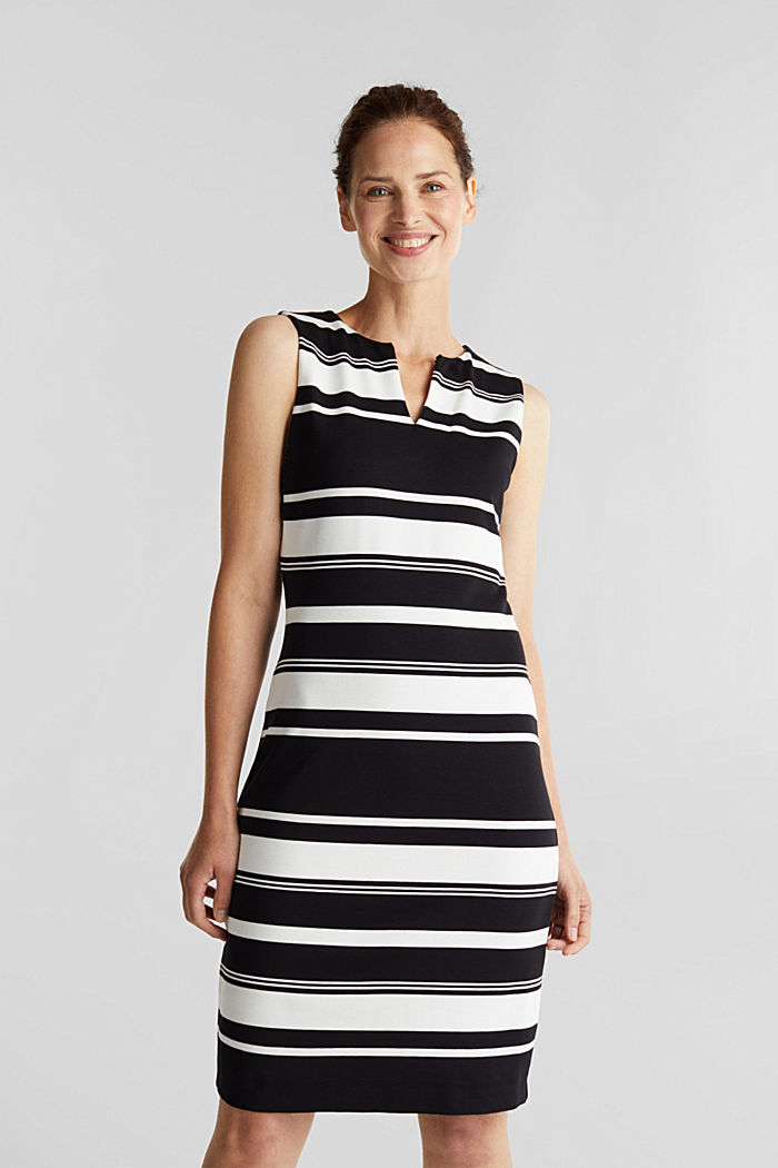 Striped jersey sheath dress, BLACK, detail image number 0