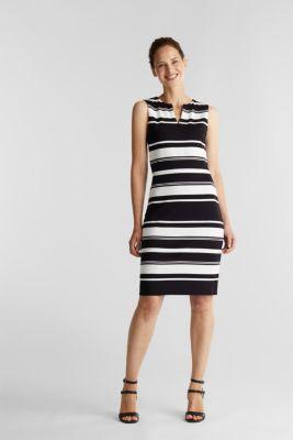 Striped jersey sheath dress, BLACK, detail