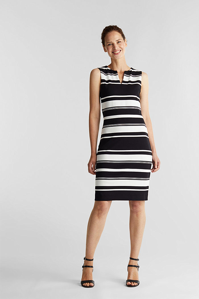 Striped jersey sheath dress, BLACK, detail image number 1