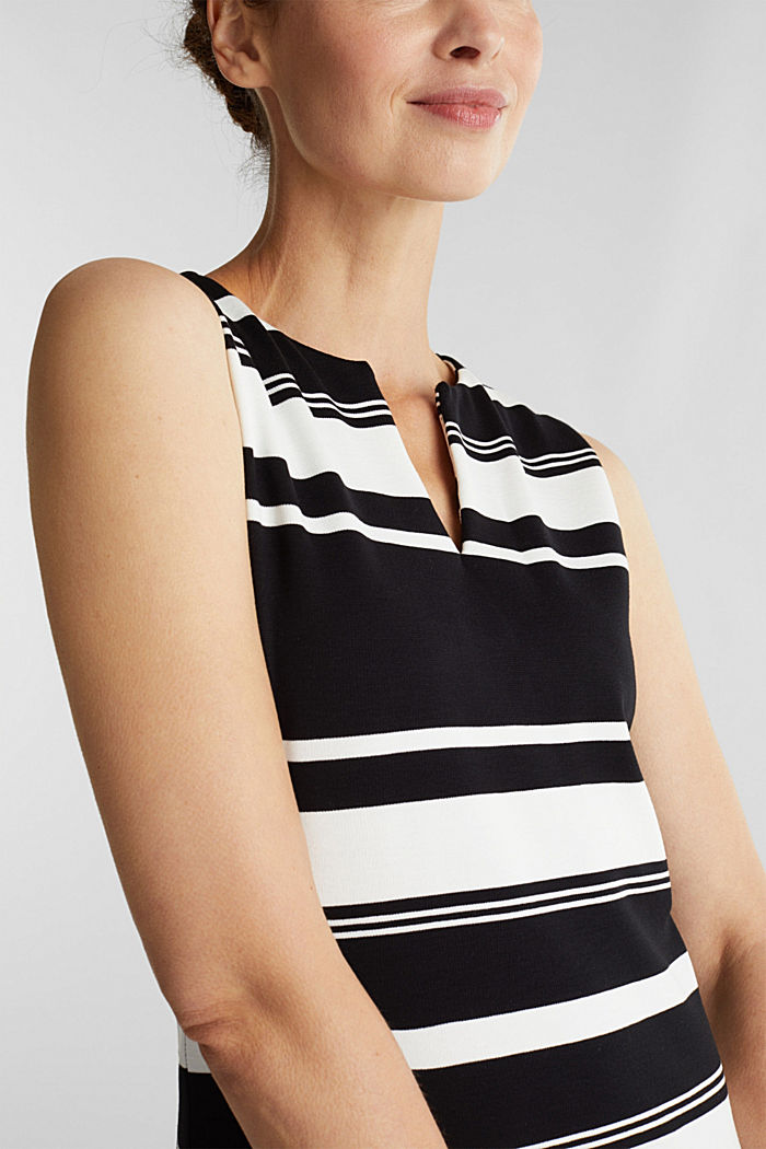 Striped jersey sheath dress, BLACK, detail image number 3