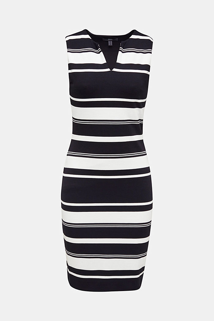 Striped jersey sheath dress, BLACK, detail image number 5