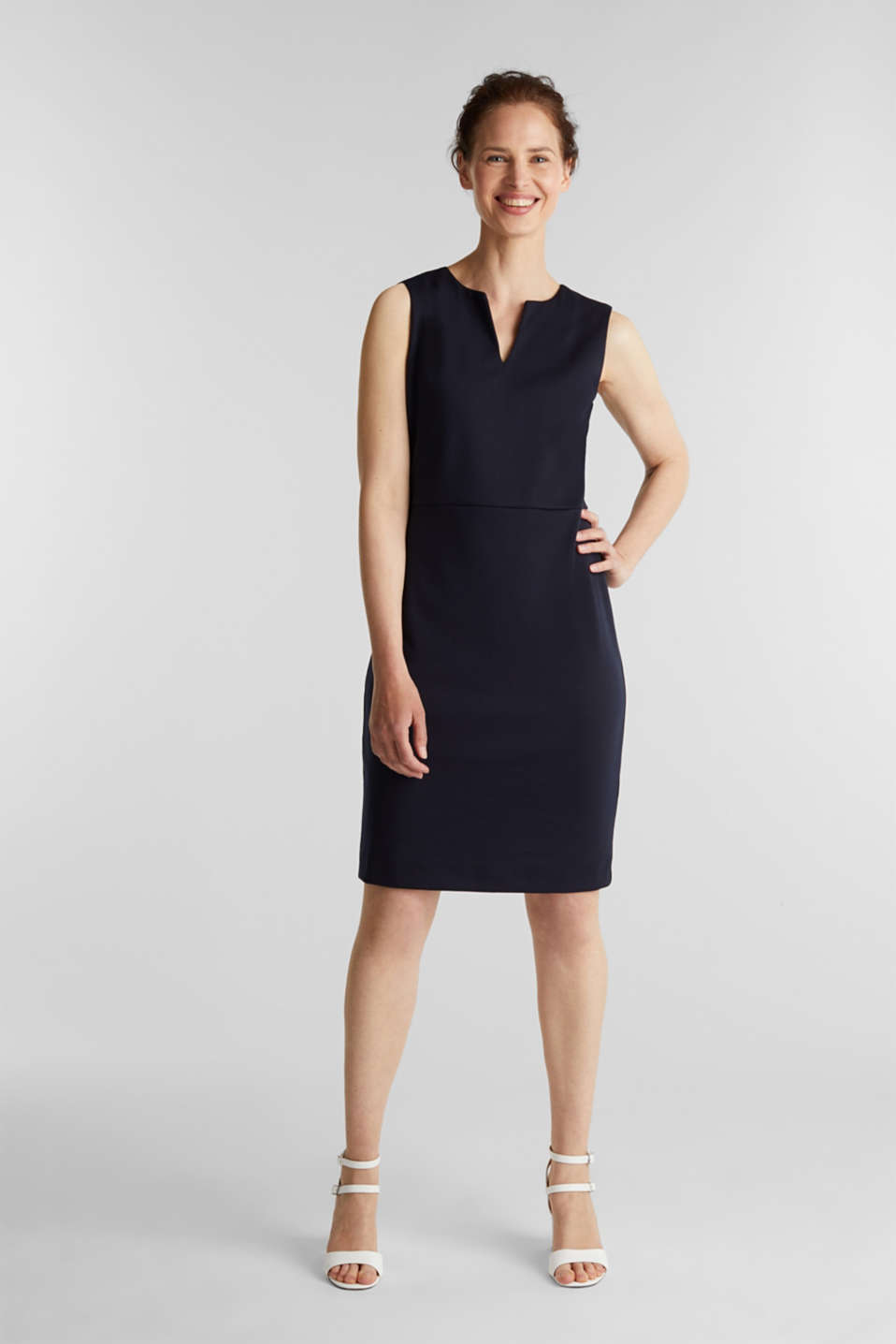 Sleeveless shift dress made of stretch jersey, NAVY, detail image number 1