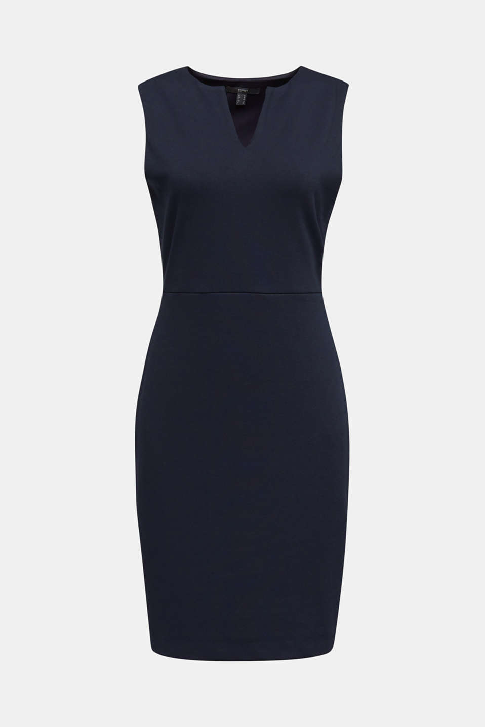 Sleeveless shift dress made of stretch jersey, NAVY, detail image number 5