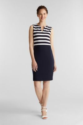 Sheath dress made of firm stretch jersey, NAVY, detail