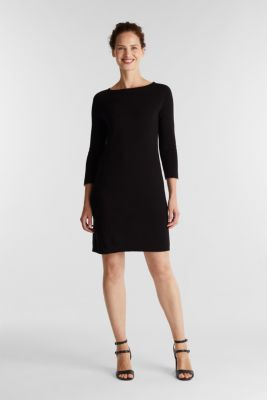 Knit dress made of 100% cotton, BLACK, detail
