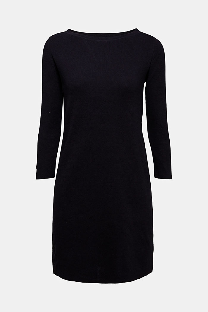 Knit dress made of 100% cotton, BLACK, detail image number 5