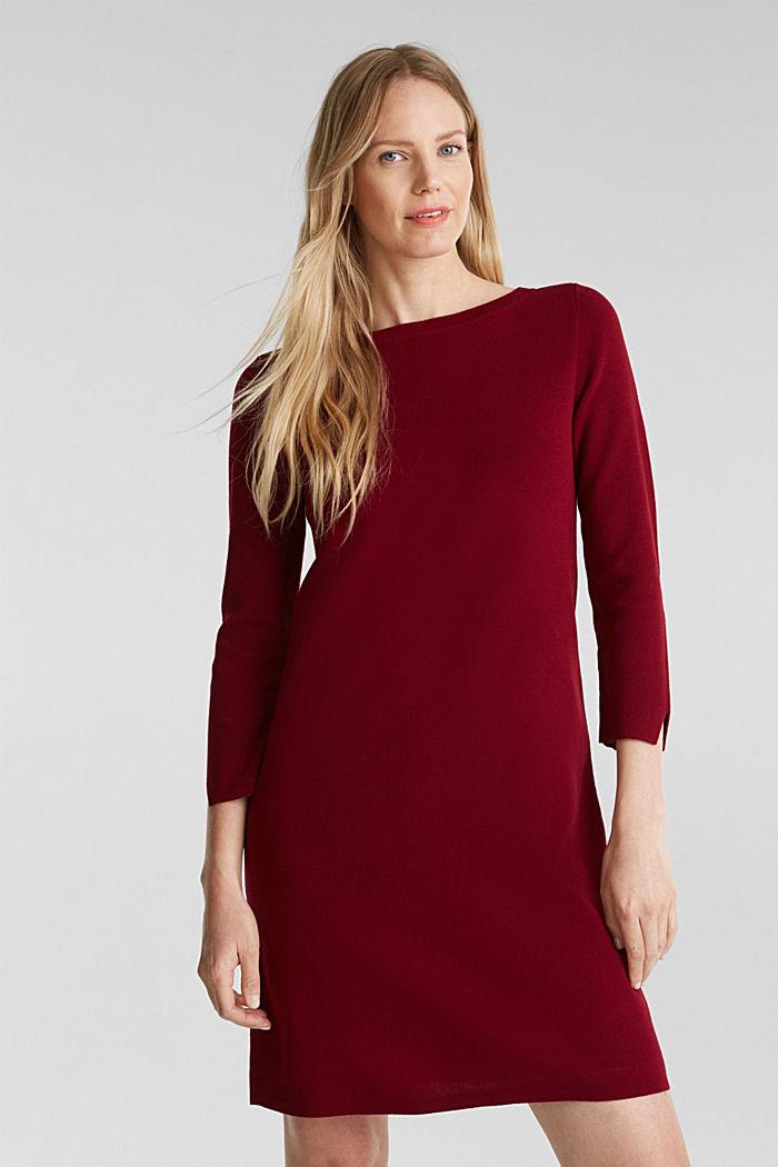 Strickkleid aus 100% Baumwolle, BORDEAUX RED, detail image number 0