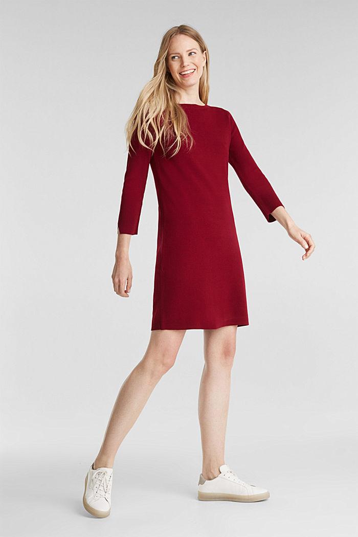 Strickkleid aus 100% Baumwolle, BORDEAUX RED, detail image number 1
