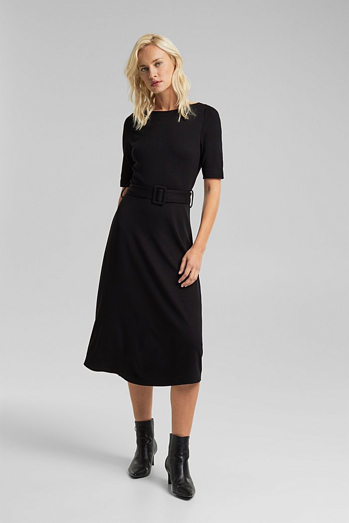 Jersey dress with LENZING™ ECOVERO™, BLACK, detail image number 6