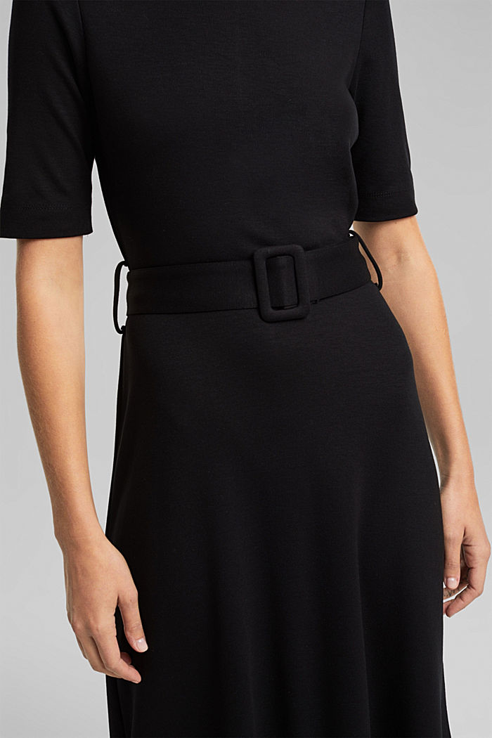Jersey dress with LENZING™ ECOVERO™, BLACK, detail image number 3