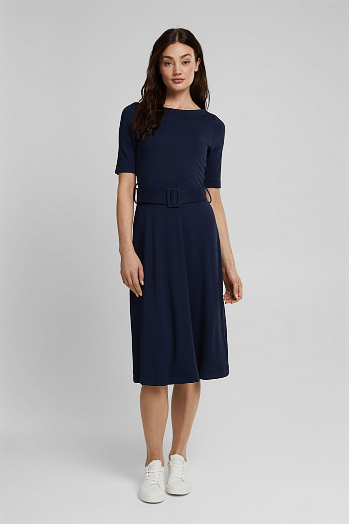 Jersey-Kleid mit LENZING™ ECOVERO™, NAVY, detail image number 1
