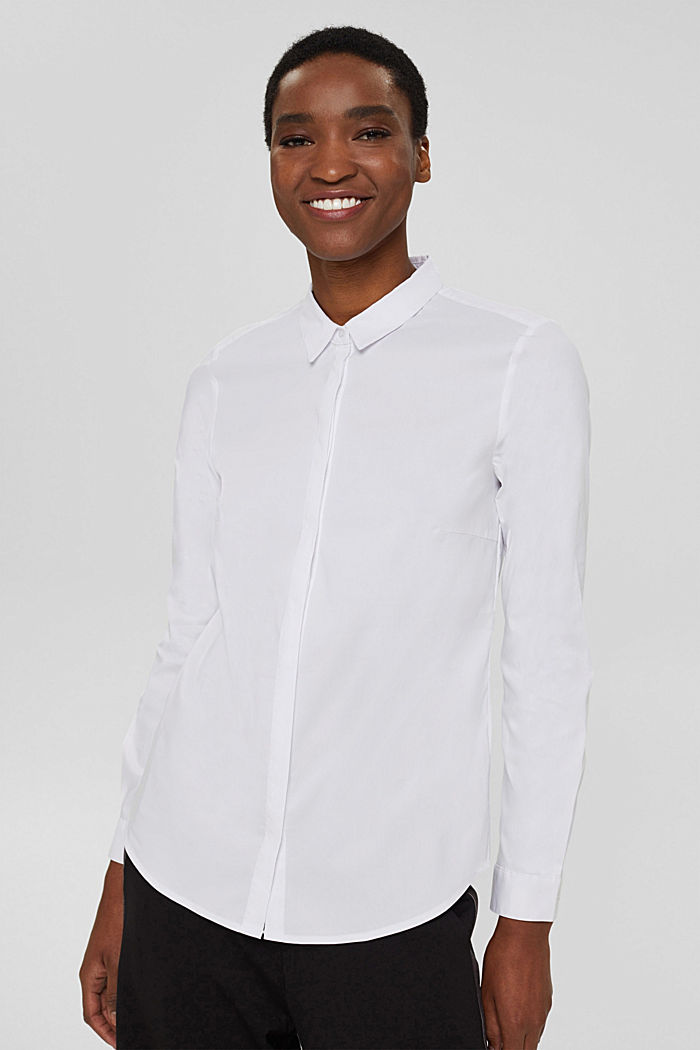 Fitted stretch shirt blouse, WHITE, detail image number 0
