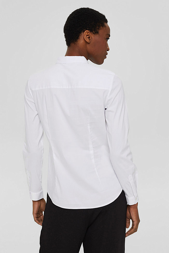 Fitted stretch shirt blouse, WHITE, detail image number 3