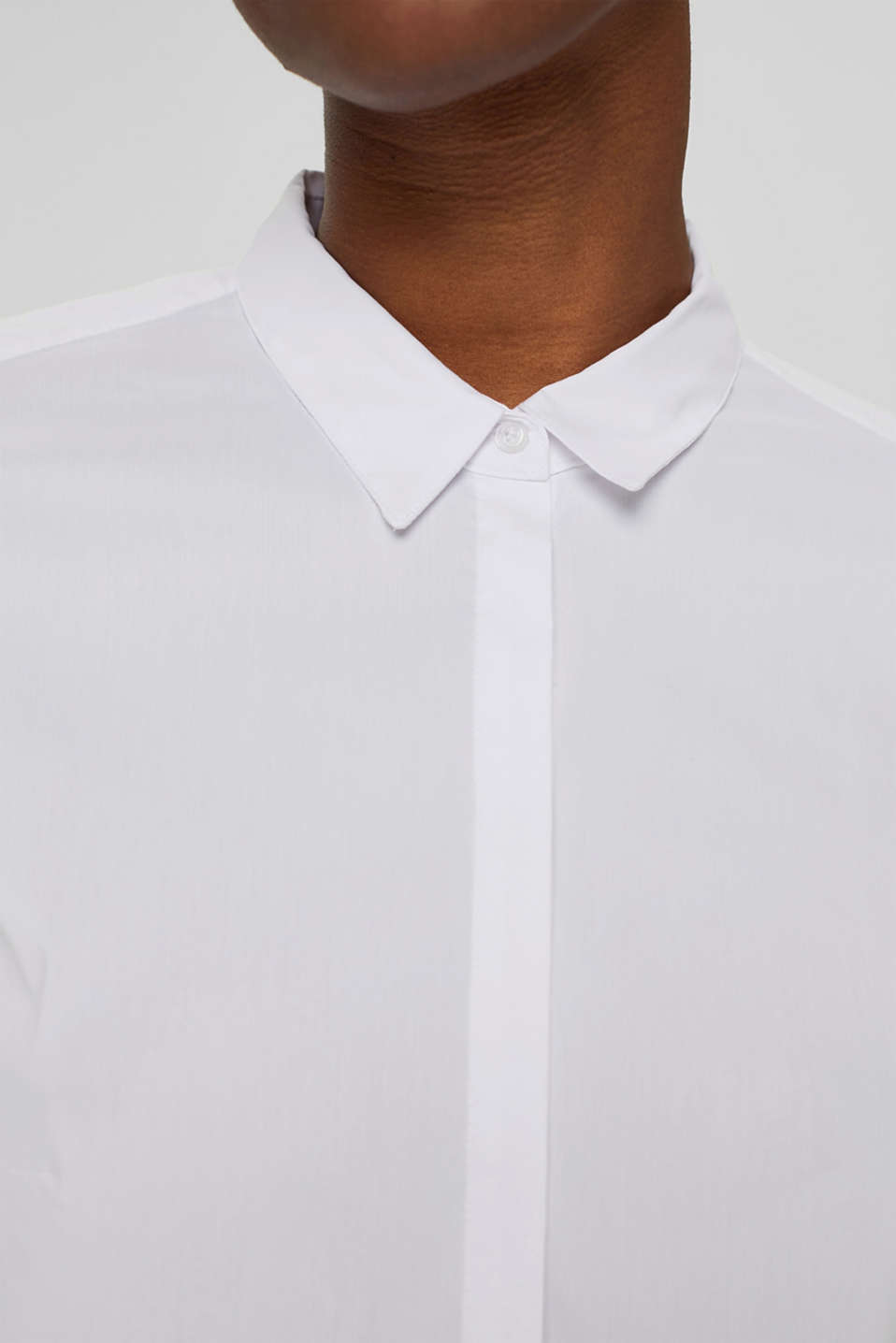 Fitted stretch shirt blouse, WHITE, detail image number 2
