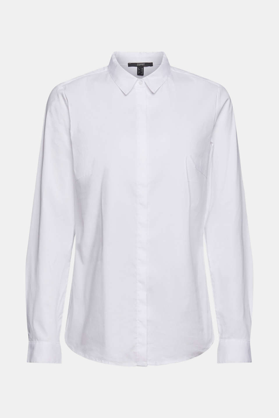 Fitted stretch shirt blouse, WHITE, detail image number 6