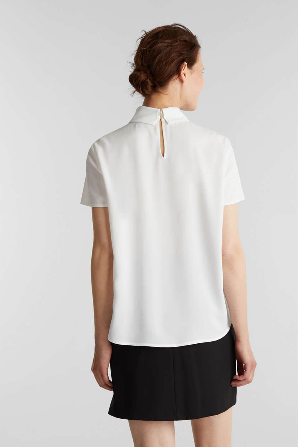 Blouse made of recycled fabric with a front pleat, OFF WHITE, detail image number 3