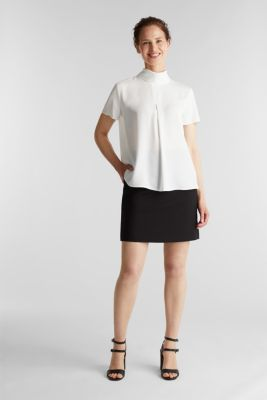 Blouse made of recycled fabric with a front pleat, OFF WHITE, detail