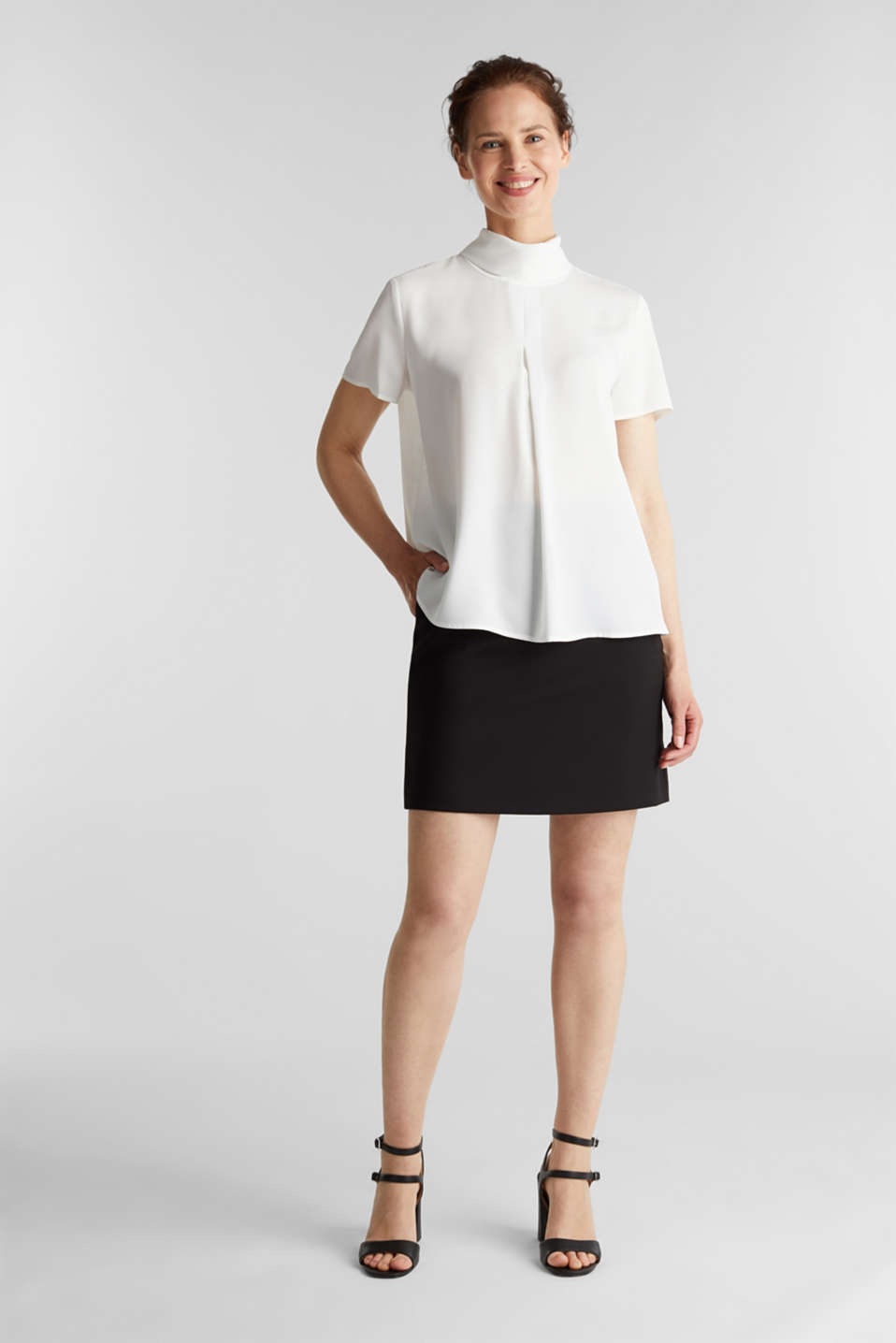 Blouse made of recycled fabric with a front pleat, OFF WHITE, detail image number 1