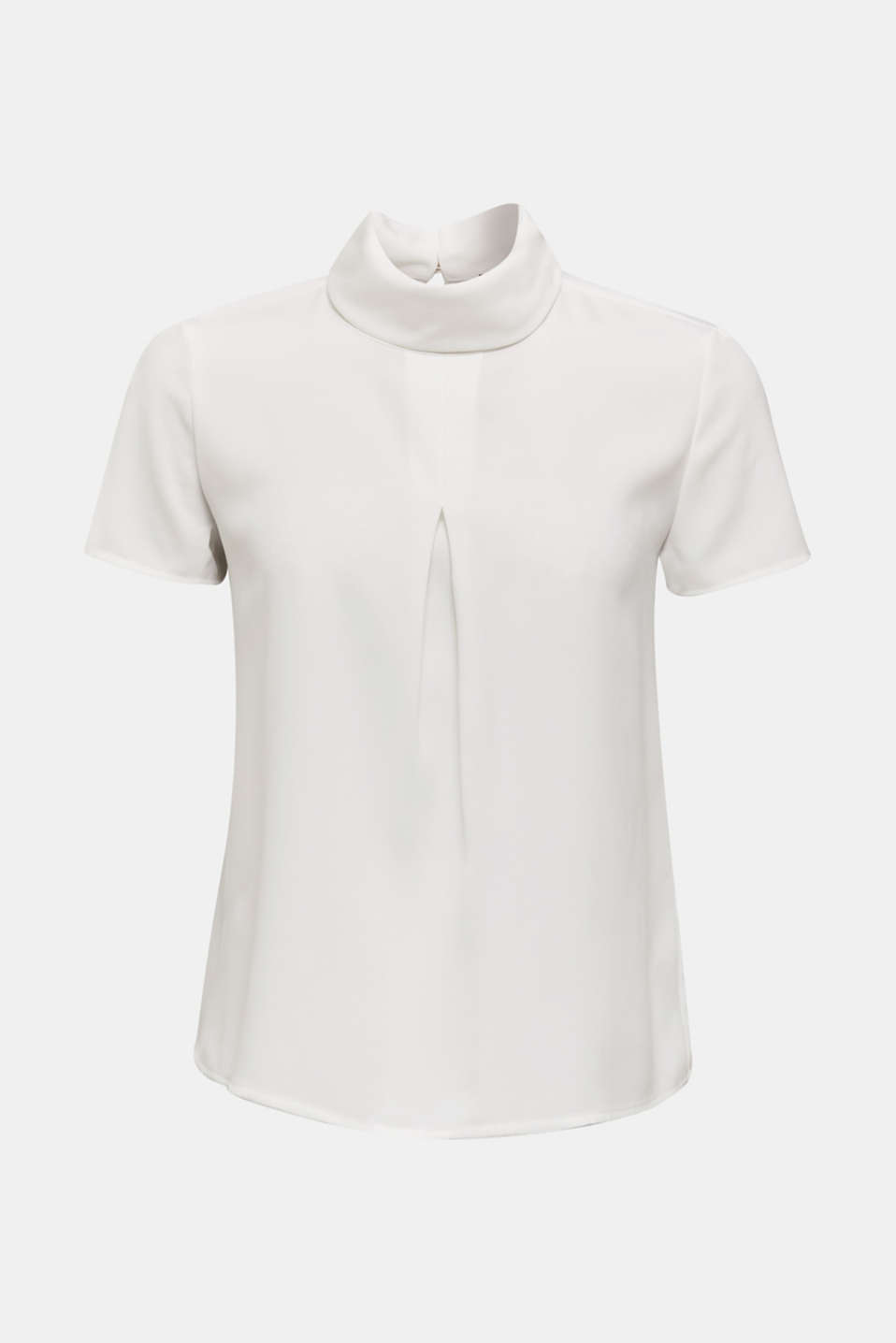 Blouse made of recycled fabric with a front pleat, OFF WHITE, detail image number 7