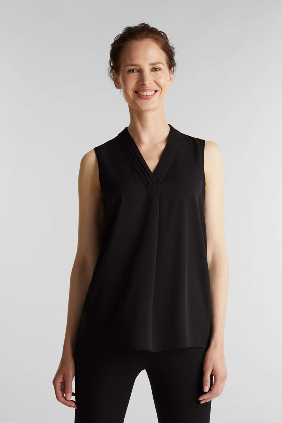 Esprit - Top blusato in crêpe materiale riciclato