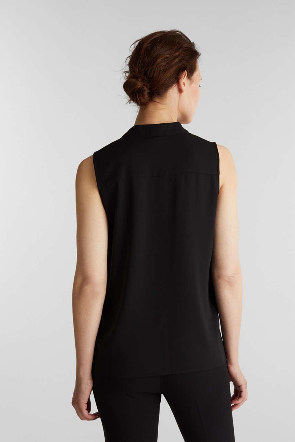 Recycled crêpe blouse top, BLACK, detail image number 3