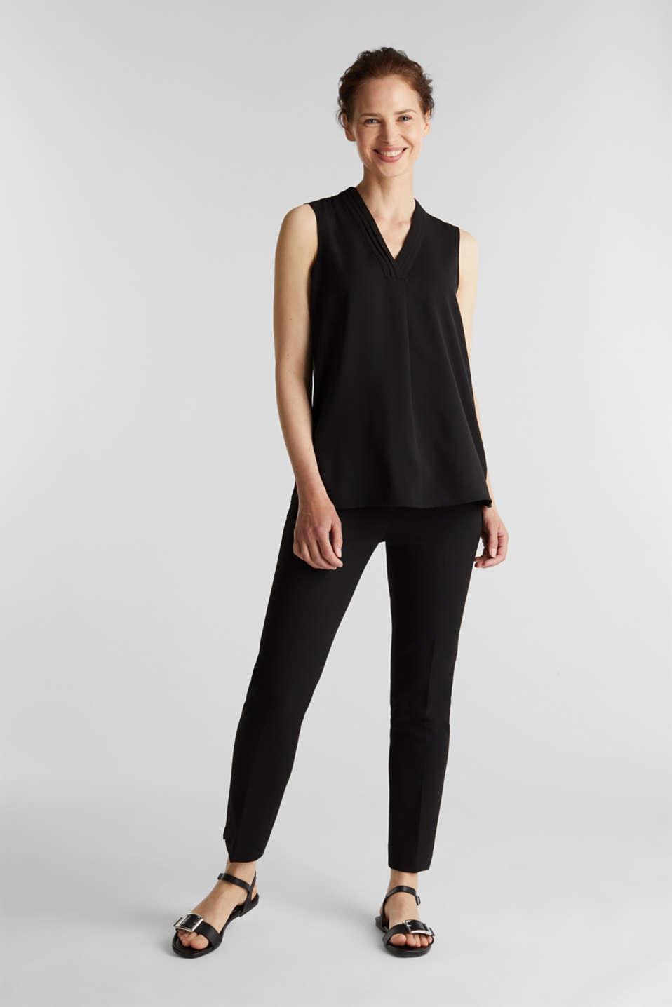 Recycled crêpe blouse top, BLACK, detail image number 1