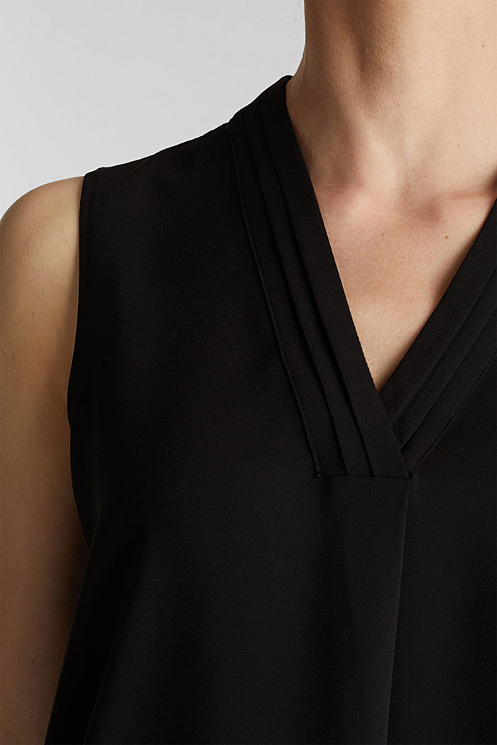 Recycled crêpe blouse top, BLACK, detail image number 2