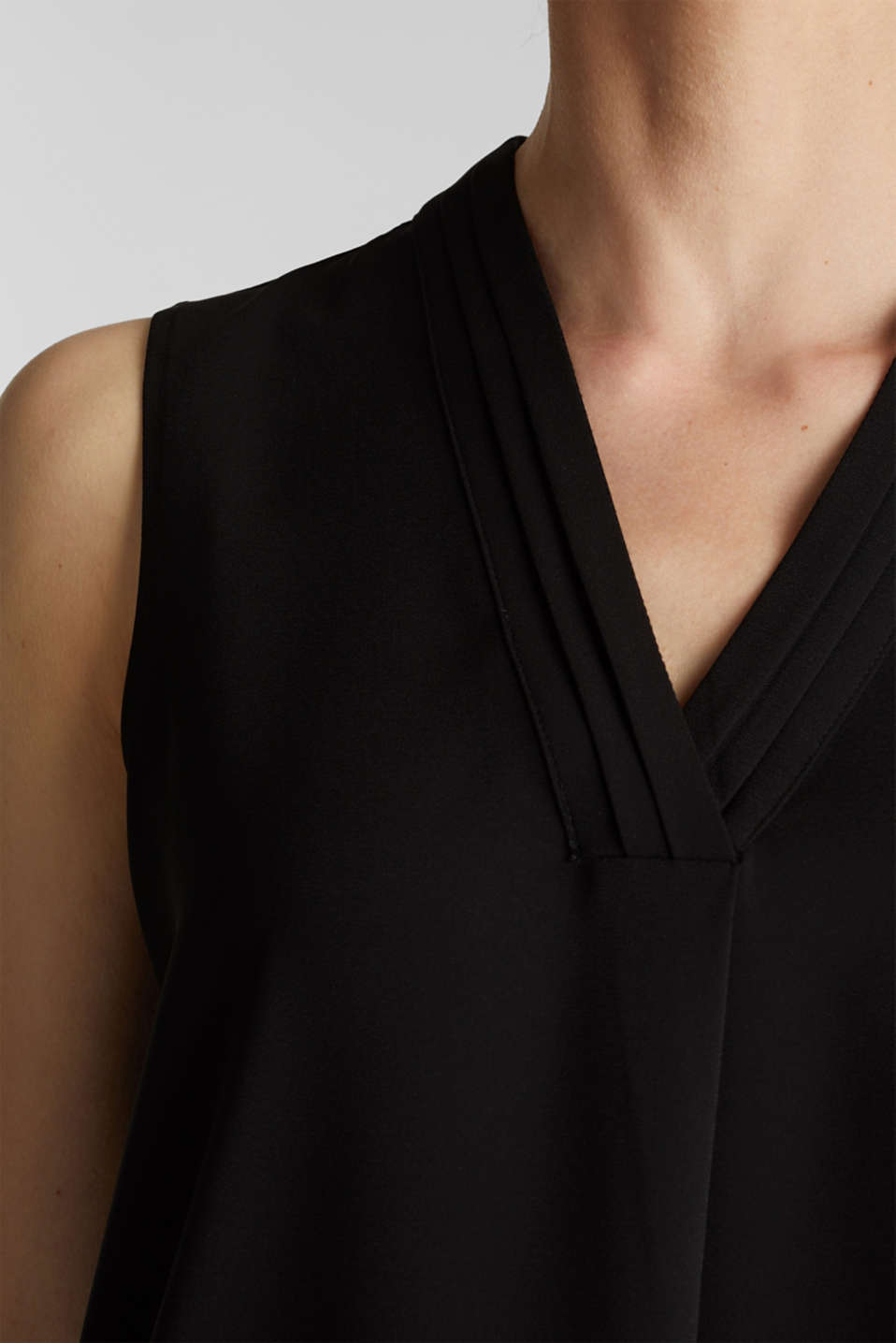 Recycled crêpe blouse top, BLACK, detail image number 2