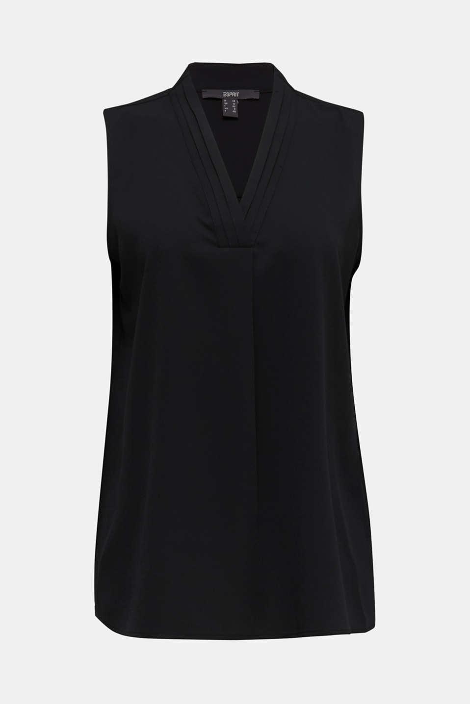 Recycled crêpe blouse top, BLACK, detail image number 6
