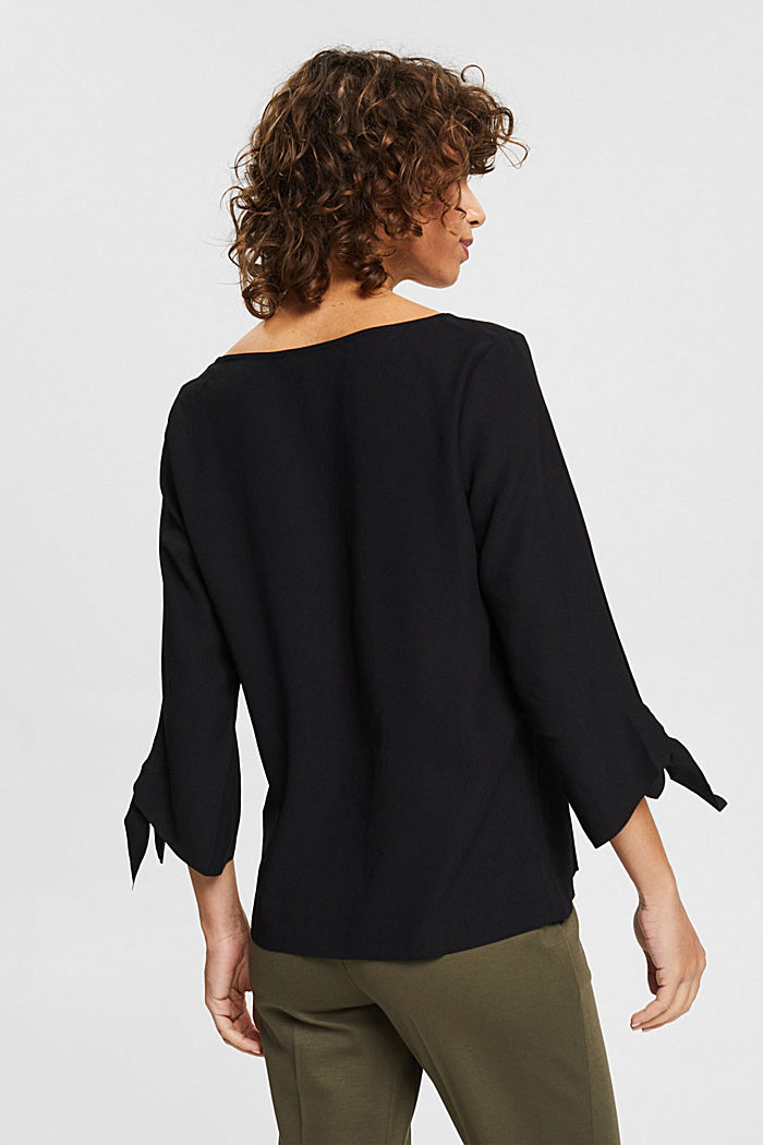Stretch blouse with open edges, BLACK, detail image number 3