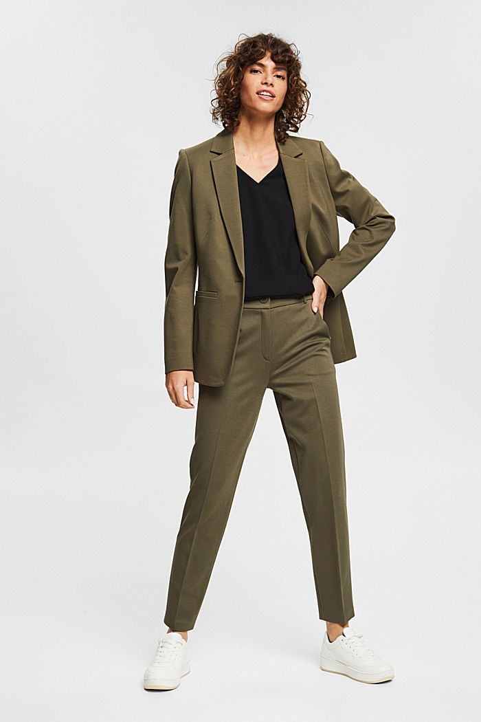 Stretch blouse with open edges, BLACK, detail image number 1