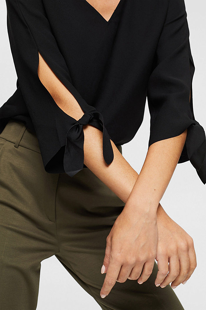 Stretch blouse with open edges, BLACK, detail image number 2