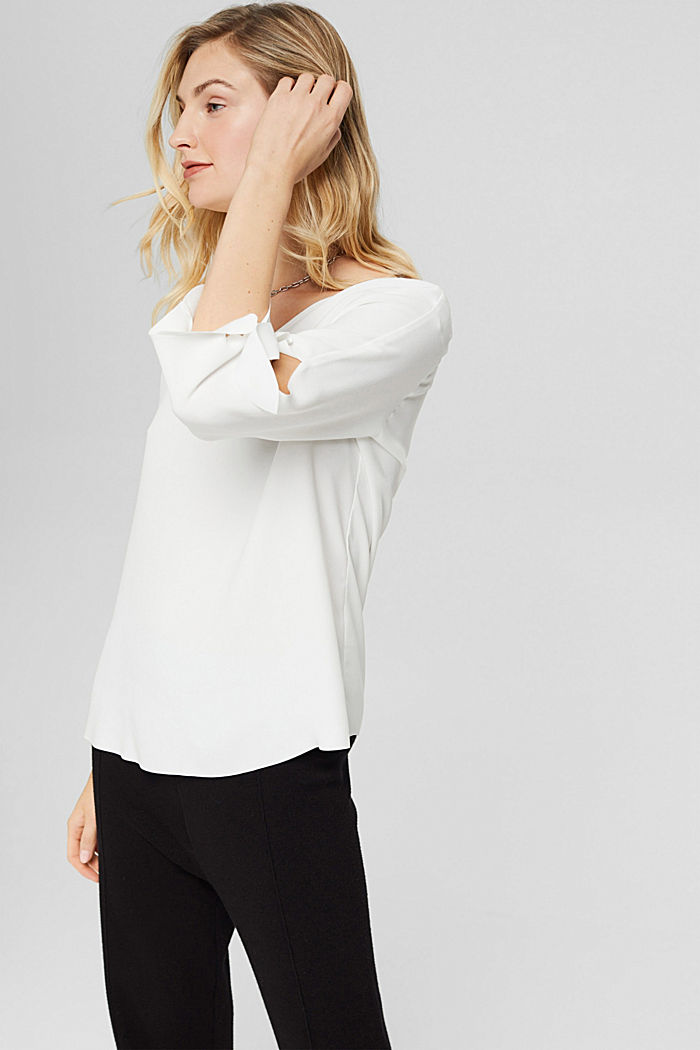 Stretch blouse with open edges, OFF WHITE, detail image number 0