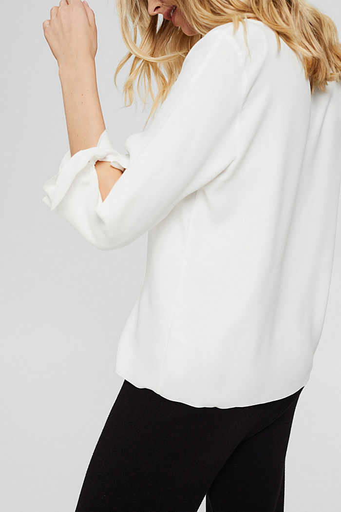 Stretch blouse with open edges, OFF WHITE, detail image number 2