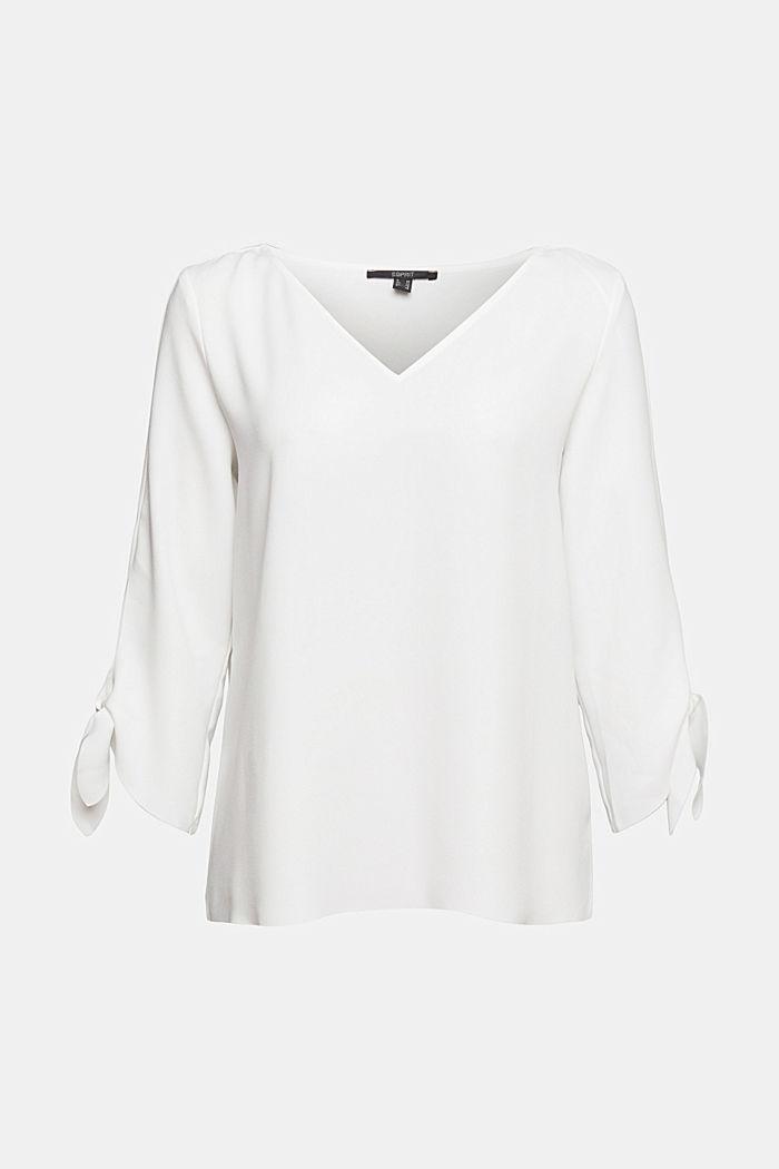 Bluzka ze streczem z nieobszytymi brzegami, OFF WHITE, detail image number 0