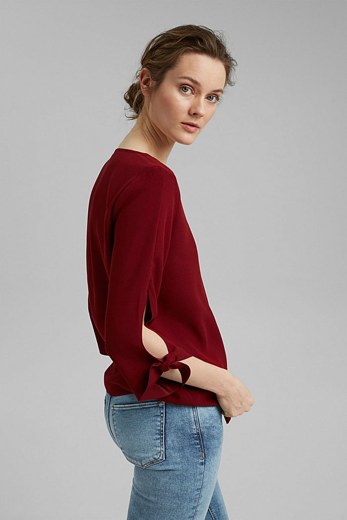 Stretch blouse with open edges, BORDEAUX RED, detail image number 5