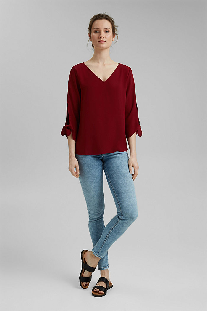 Stretch blouse with open edges, BORDEAUX RED, detail image number 1