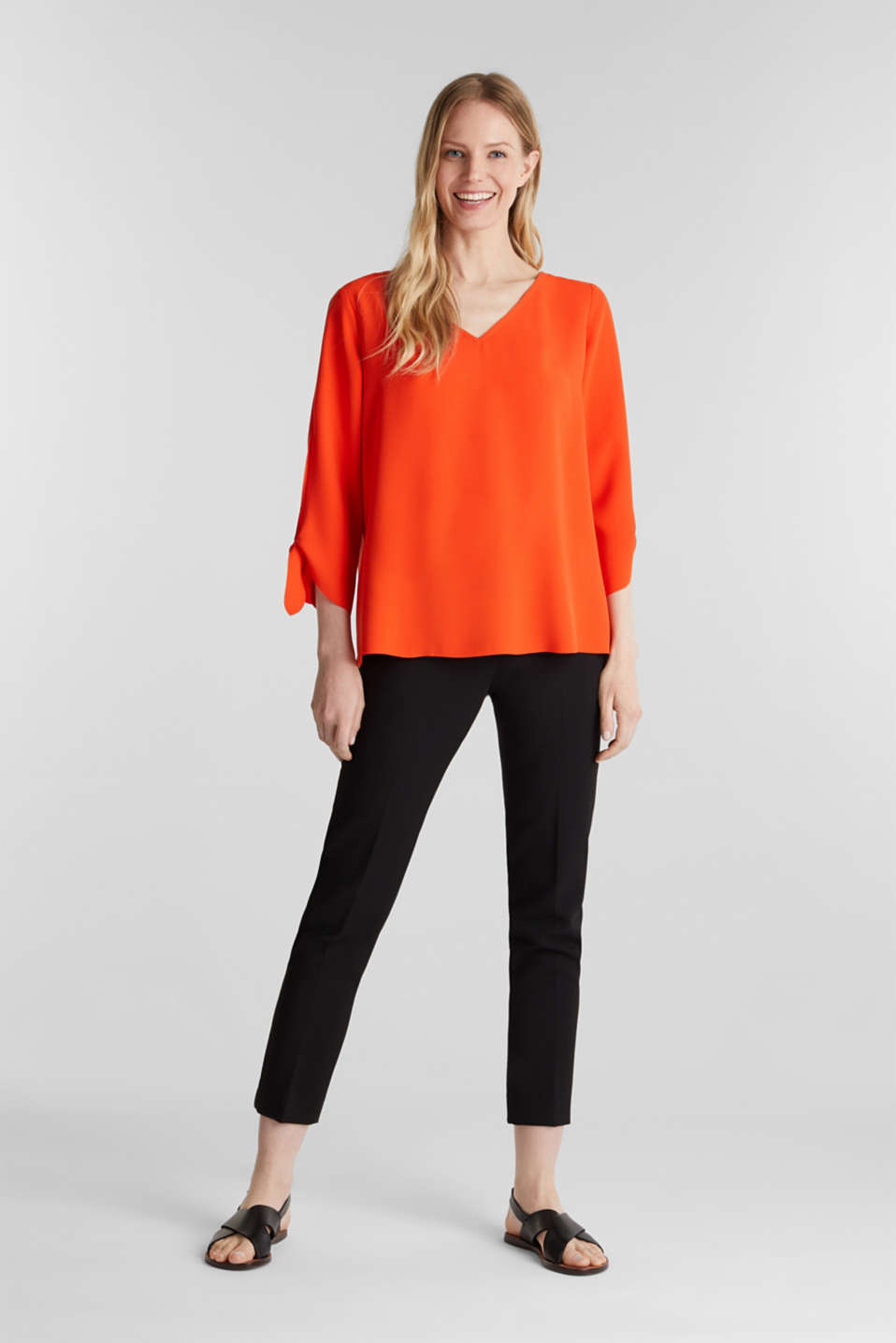 Stretch blouse with open edges, RED ORANGE, detail image number 0