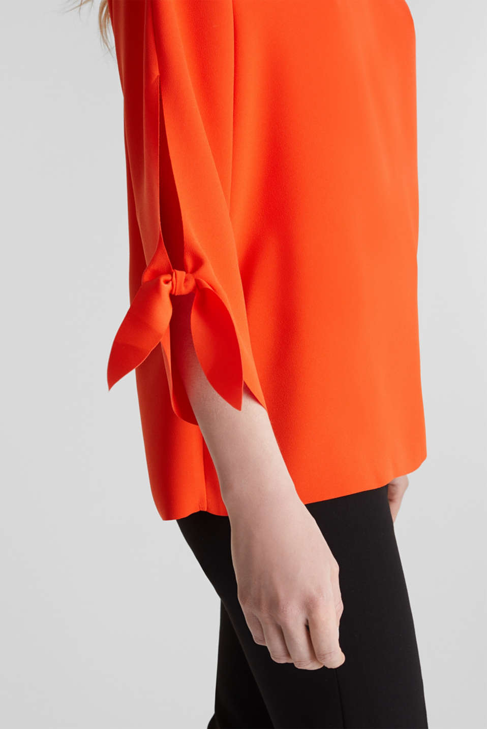 Stretch blouse with open edges, RED ORANGE, detail image number 1