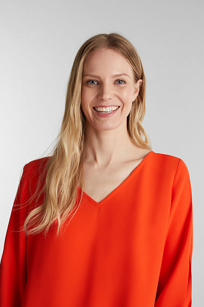 Stretch-Bluse mit offenen Kanten, RED ORANGE, detail image number 0