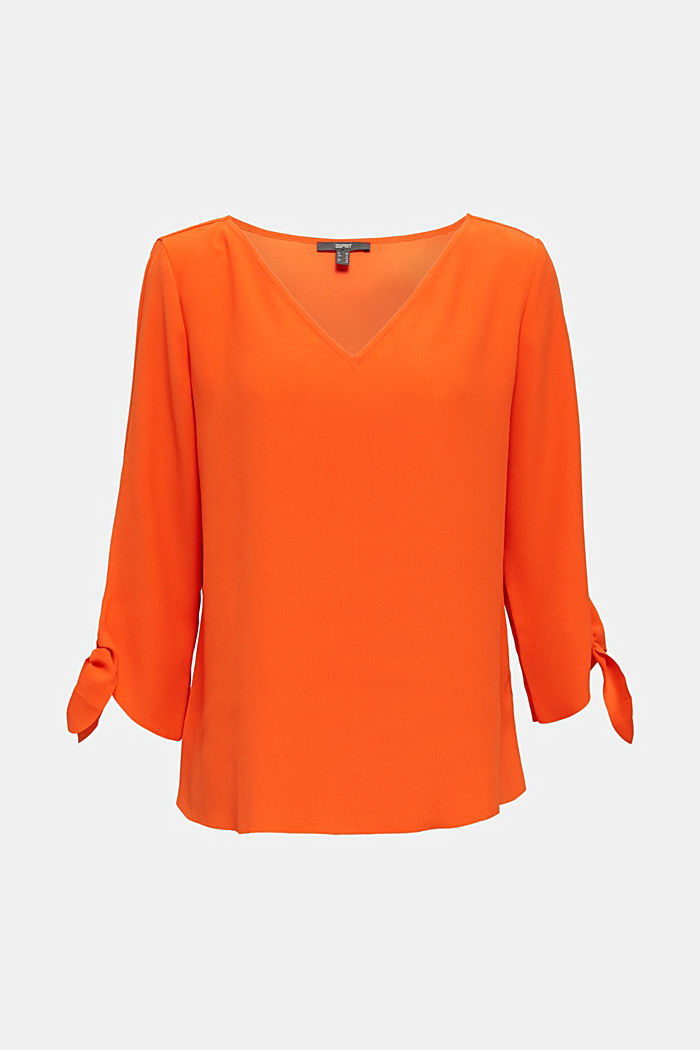 Stretch-Bluse mit offenen Kanten, RED ORANGE, detail image number 1