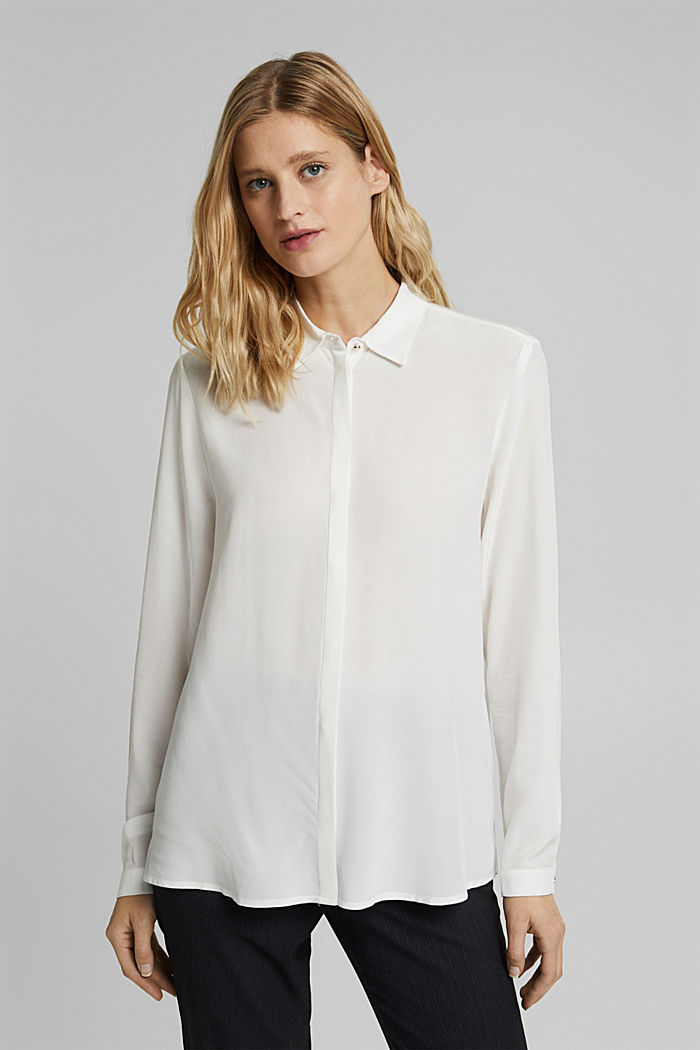 Blusa camisera en LENZING™ ECOVERO™, OFF WHITE, detail image number 0