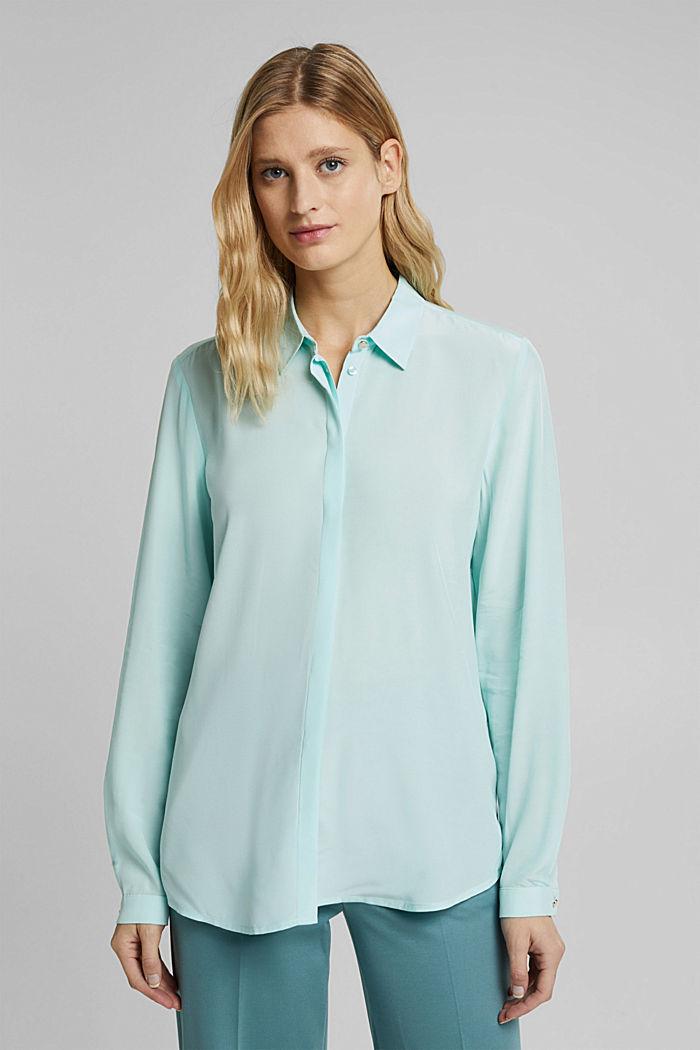 LENZING™ ECOVERO™ shirt blouse, LIGHT TURQUOISE, detail image number 0