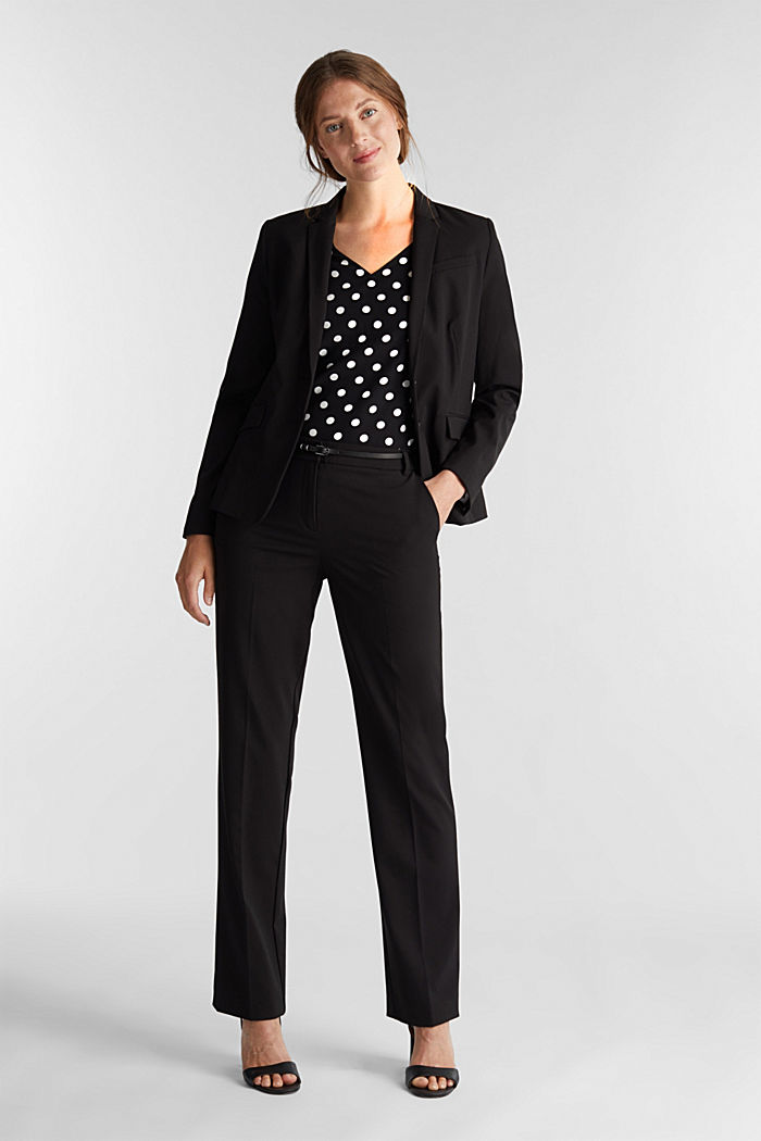 Blouse top with polka dots, BLACK, detail image number 1