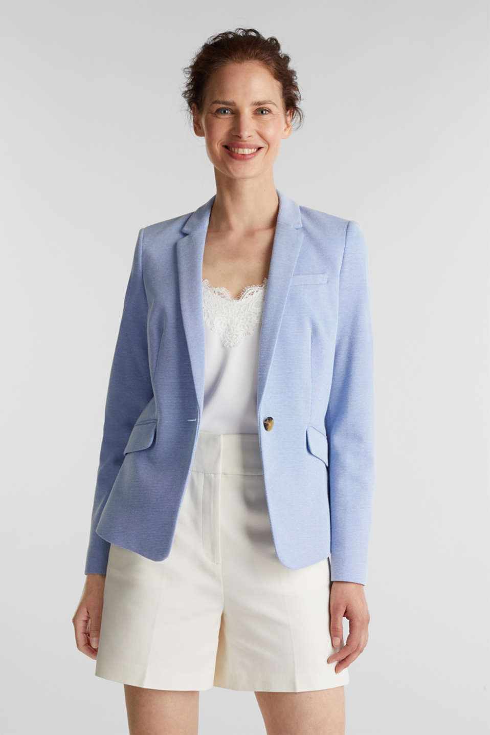 Esprit - Fitted textured blazer, recycled